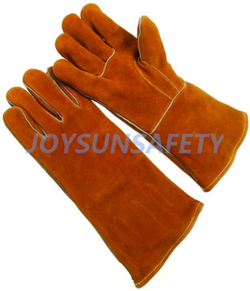 WCBY02 brown welding leather gloves straight thumb
