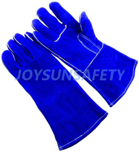 WCBB02 blue welding leather gloves straight thumb